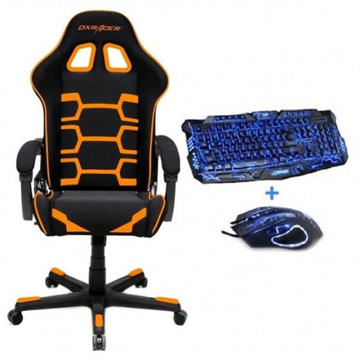 DXRacer - كرسي ألعاب الفيديو – اسود و برتقالي + لوحة مفاتيح و ماوس - يتم التوصيل بواسطة شركة توصيل خلال يوم العمل التالي