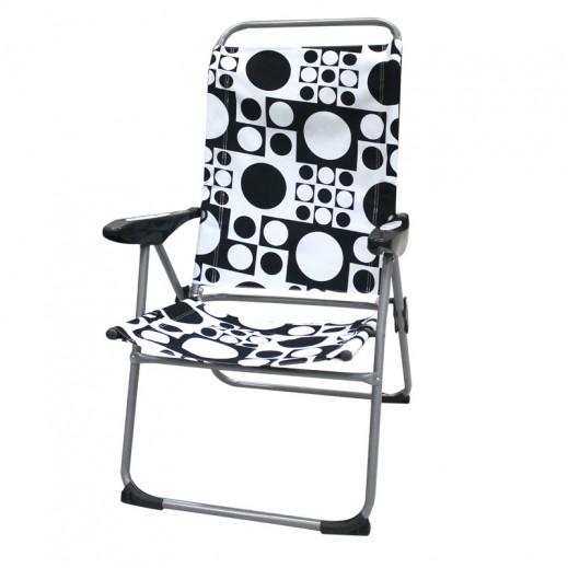 كرسي إتكاء قابل للطي -  أبيض وأسود