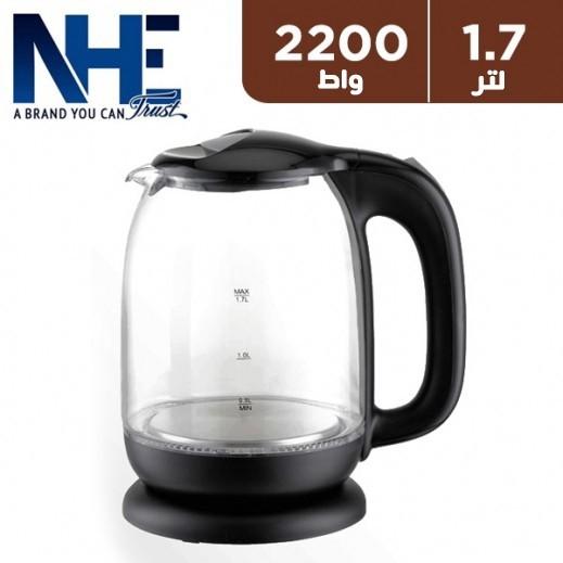إن إتش إي – غلاية مياة زجاجية 1.7 لتر 2,200 واط - اسود