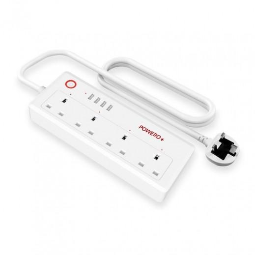 باور أوبلس – اشتراك كهربائي لاسلكي ذكي 4 مخارج 4 منافذ USB - أبيض