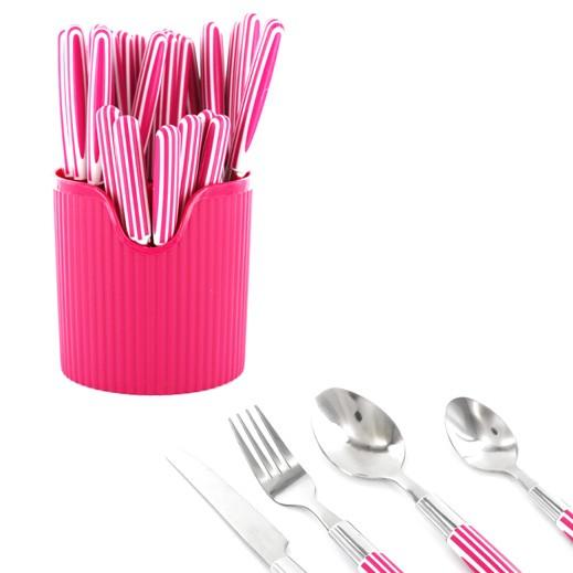 طقم أدوات المائدة 24 قطعة (وردي)