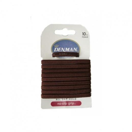 دنمان - رابطة شعر No Slip Grip (لون بني) 10 حبة