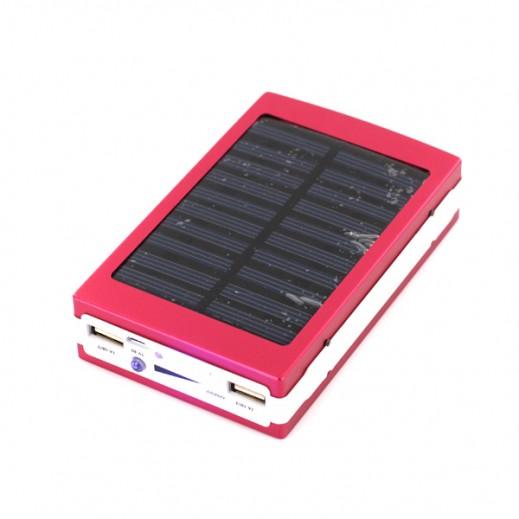 بطارية احتياطية 50000 مللي امبير منافذ USB مزدوجة تشحن بالطاقة الشمسية - وردي