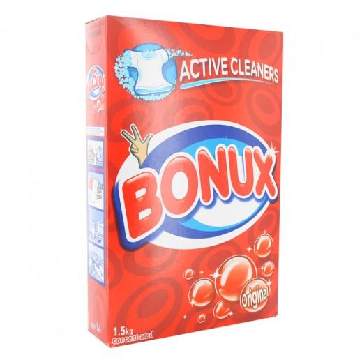 """بونكس – مسحوق الغسيل للغسالات العادية """" عطر أصلي """" 1.5 كجم"""