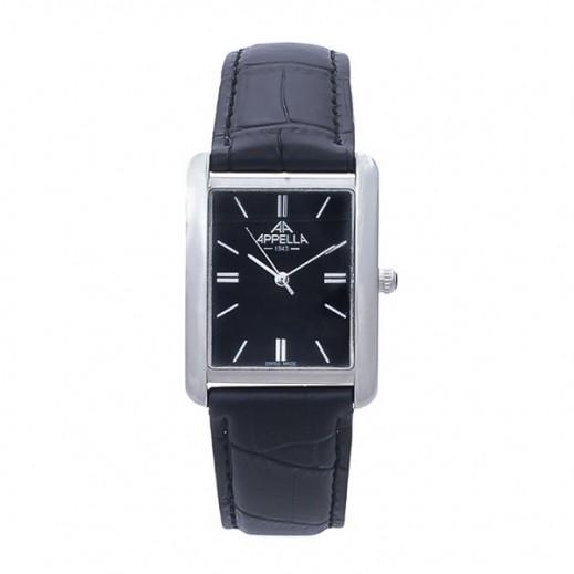 أبيلا – ساعة يد سويسرية للرجال بحزام جلدي وهيكل فضي موديل (AP-4097.02.0.0.02)