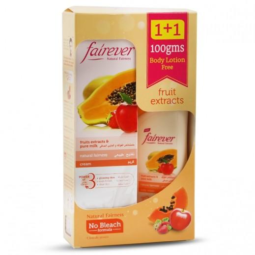 فير إيفر – كريم تفتيح طبيعي بمستخلص الفواكه والحليب الصافي 100 جم + مرطب للجسم 100 مل مجاناً