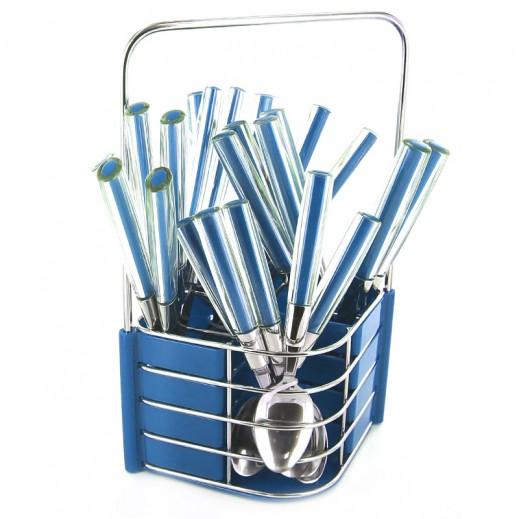 إي إس سي– طقم أدوات المائدة مع حامل 24 قطعة (أزرق)