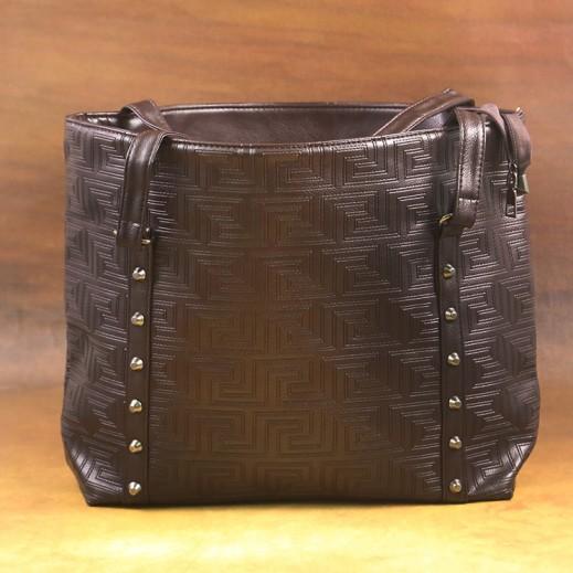 عنابي - حقيبة يد PU جلدية للسيدات - بني