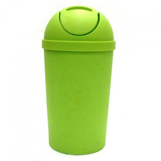 سلة مهملات بلاستيكية بغطاء – أخضر