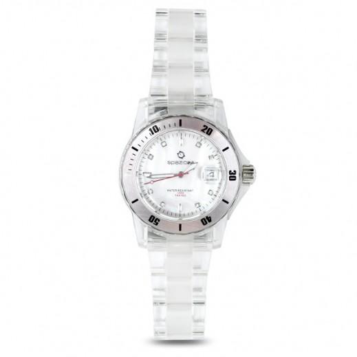 سباتسيو 24 – ساعة يد للرجال بهيكل من البلاستيك الشفاف وواجهة بلون أبيض (L4D043/51W)