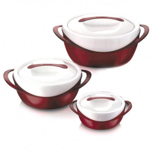 باناتشي – طقم أوعية لحفظ الطعام ساخناً من ثلاث حبات (600 + 1200 + 2500) - أحمر