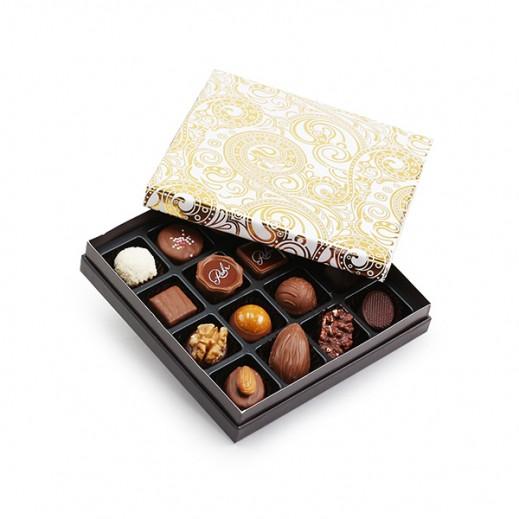 علبة شوكولاتة مُميزة ذهبي / أبيض - 16 قطعة - يتم التوصيل بواسطة Chocolates Rohr Geneve