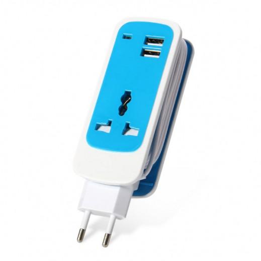 وصلة كهرباء مع مقبس متعدد التوافق ومنافذ USB مزدوجة - ازرق