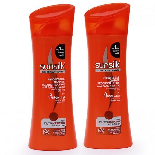 صانسيلك – شامبو لإعادة بناء ومعالجة تلف الشعر 2 حبة × 400 مل
