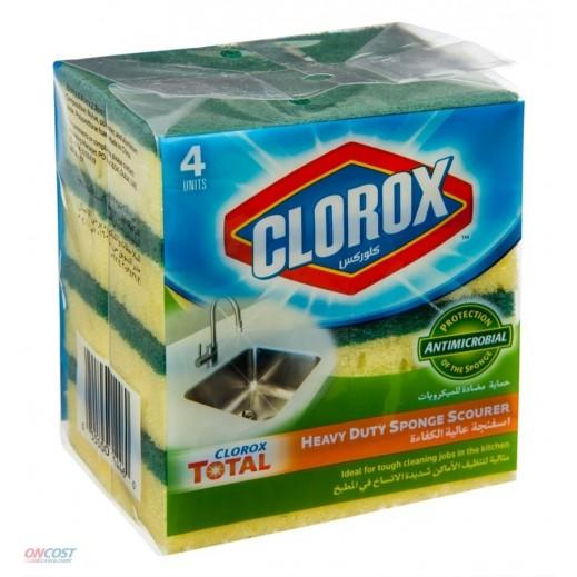 كلوركس – اسفنجة عالية الكفاءة للاستخدامات المختلفة + اسفنجة مانعة للخدوش - 4 حبة