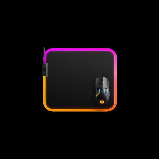 ستيل سرياس - لوحة ماوس قماش مضيئة  QcK Prism لألعاب الفيديو حجم وسط - أسود