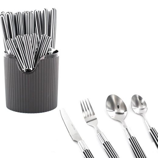 طقم أدوات المائدة 24 قطعة (أسود)