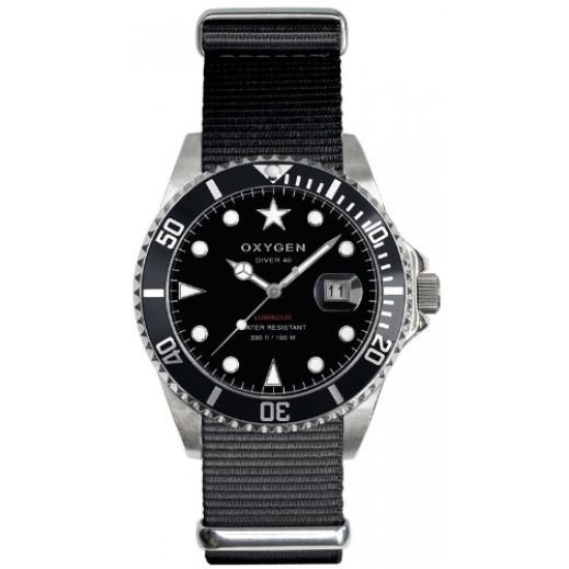 """أكسجين – ساعة """"دايفر"""" لكلا الجنسين بحزام كاكي/أسود موديل EX-D-MOB-40"""
