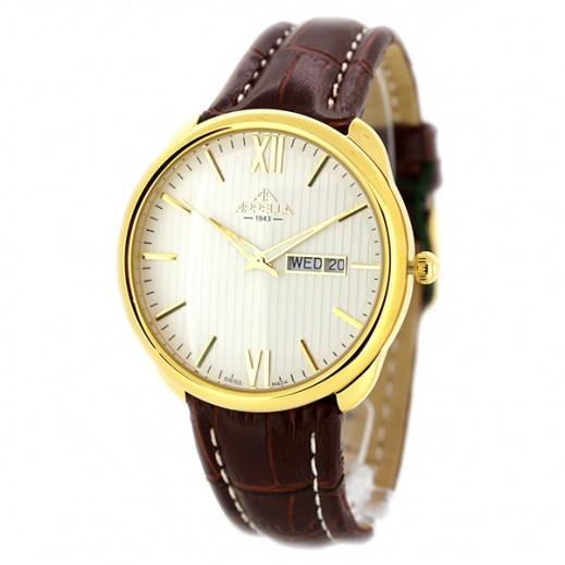 أبيلا – ساعة يد سويسرية للرجال بحزام جلدي بني وهيكل ذهبي (AP-4367.01.0.1.01)