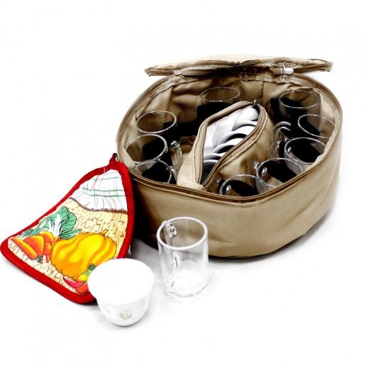 رامادان – إستكانة الشاي والقهوة 17 قطعة مع حقيبة