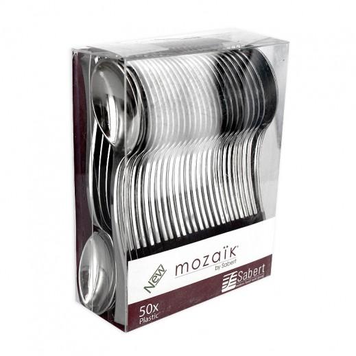 موزايك - ملاعق معدنية صغيرة - فضي 50 حبة