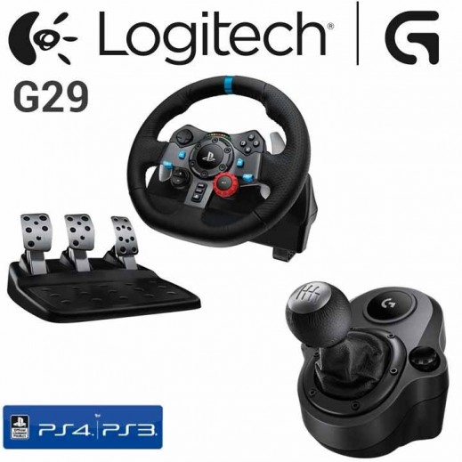 لوجيتك G29 مقود سباق مع مقبض تغير السرعات DRIVING FORCE لاجهزة PS4, PS3 والكومبيوتر