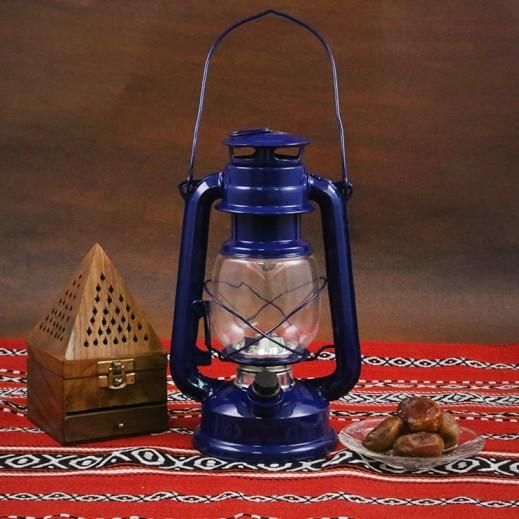 فانوس رمضان مع لمبات LED - أزرق