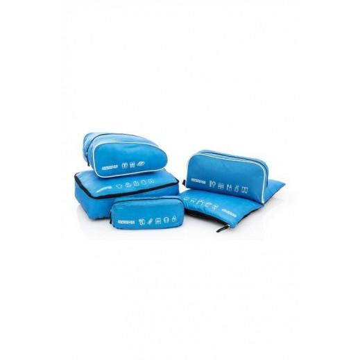 أميركان توريستر - طقم حقائب صغيرة للأدوات الشخصية 5 في 1 - أزرق