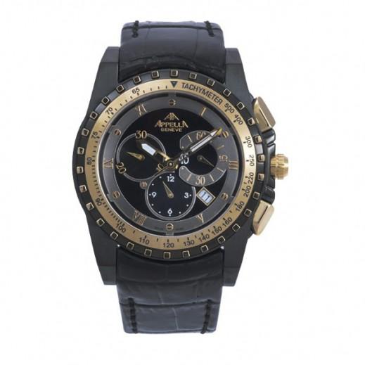 أبيلا – ساعة يد سويسرية للرجال بحزام جلدي أسود موديل (AP-4005.09.0.1.04)