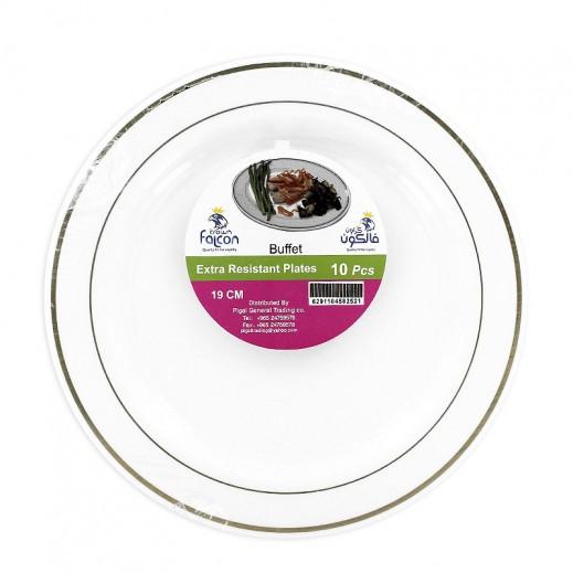 فالكون - أطباق مائدة بلاستيك بيضاء 19 سم - 10 حبة