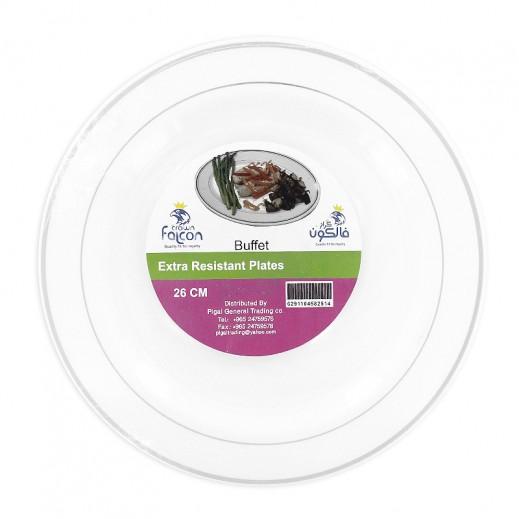 فالكون - أطباق مائدة بلاستيك بيضاء 26 سم - 10 حبة