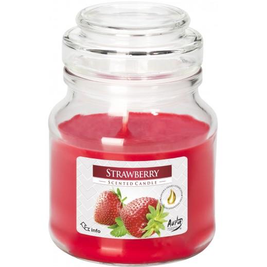 أورا - شمع معطر بغطاء فراولة 120 جم