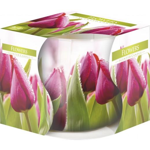 أورا - شمع معطر بطبقة مزخرفة زهور 100جم