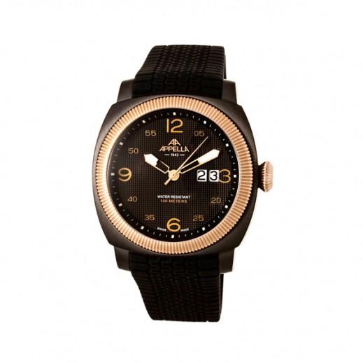 أبيلا – ساعة يد سويسرية للرجال بحزام مطاطي وحافة ذهبية (AP-4193.09.0.2.04)