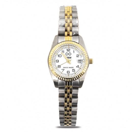 إم بي دبليو – ساعة سويسرية للسيدات بحزام ذهبي من الستانليس ستيل وأرقام إنجليزية
