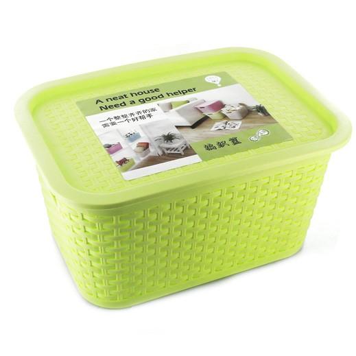 سلة تخزين بلاستيك صغيرة بغطاء - أخضر