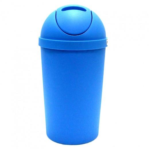 سلة مهملات بلاستيكية بغطاء – أزرق