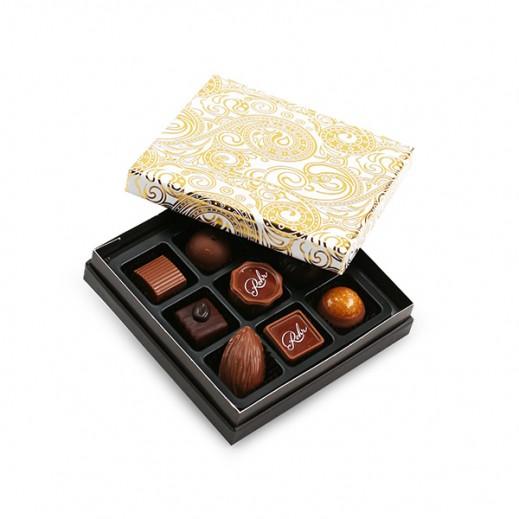 رور - علبة شوكولاتة مُميزة ذهبي / أبيض 9 حبة - يتم التوصيل بواسطة Chocolates Rohr Geneve