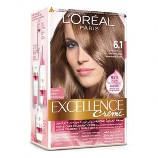 """لوريال باريس – صبغة شعر بكريم """"Excellence"""" رقم 6.1 لون أشقر غامق  رمادي"""