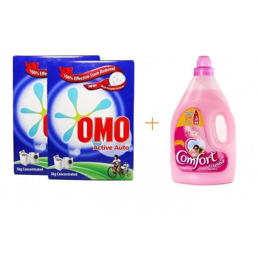 """أومو - مسحوق الغسيل """"""""Auto Fabric للغسالات الأوتوماتيك 2 × 3 كجم + كومفورت – منعم الأقمشة (وردي) 4 لتر مجاناً"""