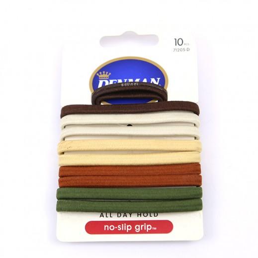 دنمان - رابطة شعر No Slip Grip (تشكيلة متنوعة) 10 حبة