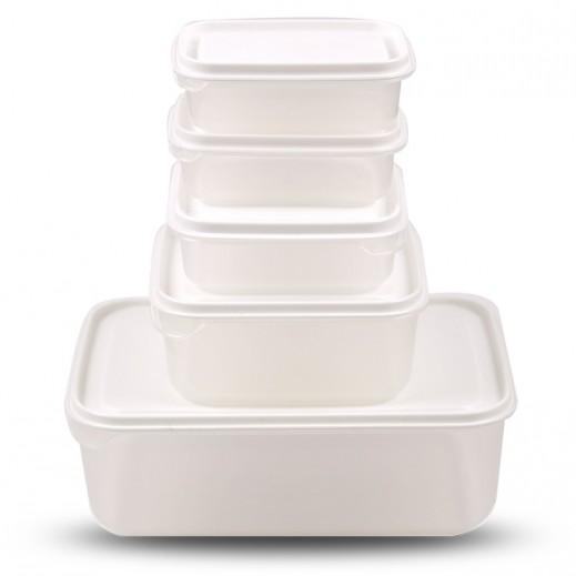 روزيتيل – طقم أوعية حفظ الطعام بغطاء - أبيض 5 حبة