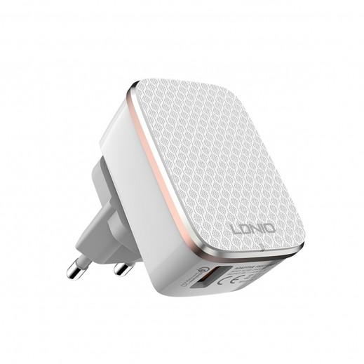 لدنيو – شاحن كهربائي سريع Qualcomm 2.0 بقوة 2.4 أمبير مع كيبل ميكرو USB – أبيض