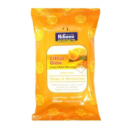 هاي جين - مناديل مبللة مضادة للبكتريا حمضيات برتقال 15 حبة