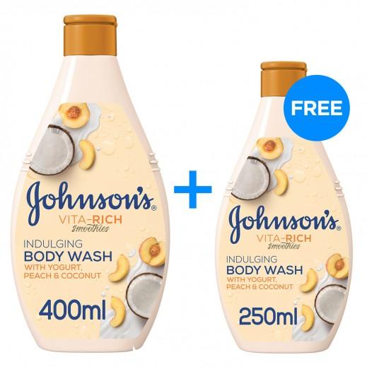 جونسون - سائل استحمام فيتا ريتش بخلاصة الزبادي والخوخ وجوز الهند 400 مل + 250 مل مجاناً