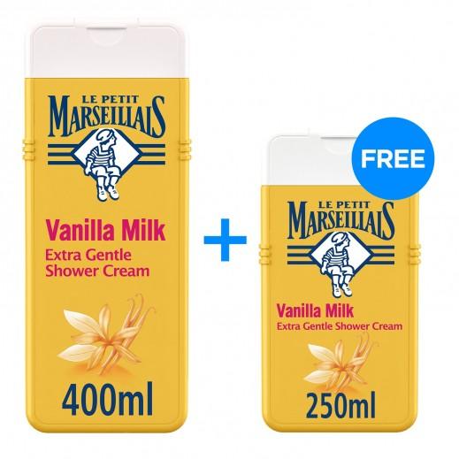 لو بيتيت مارسيليا - كريم استحمام فائق اللطف بحليب الفانيليا 400 مل + 250 مل
