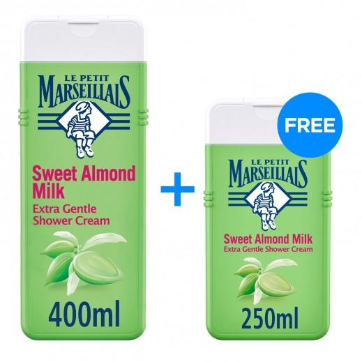 لو بيتيت مارسيليا  - كريم استحمام فائق اللطف بحليب اللوز الحلو 400 مل + 250 مل مجاناً