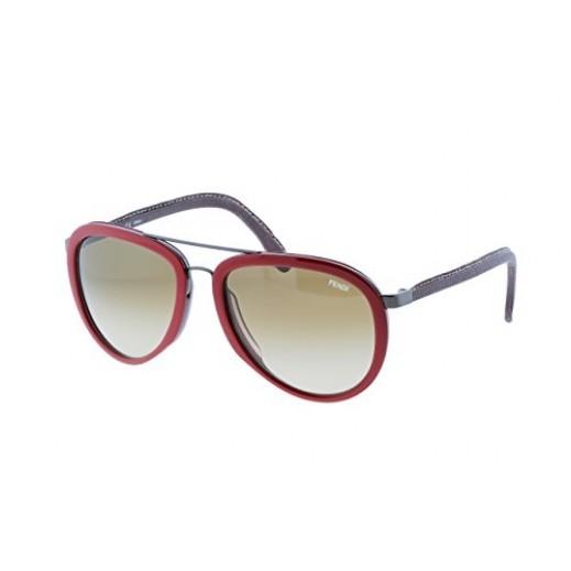 فيندي - نظارة شمسية أفيياتور للسيدات - أحمر وذهبي - 56 مم  - يتم التوصيل بواسطة Waleed Optics