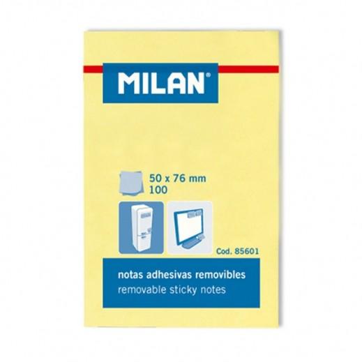 ميلان – ورق لاصق 100 ورقة  3 × 4 إنش - أصفر - 10 حبة