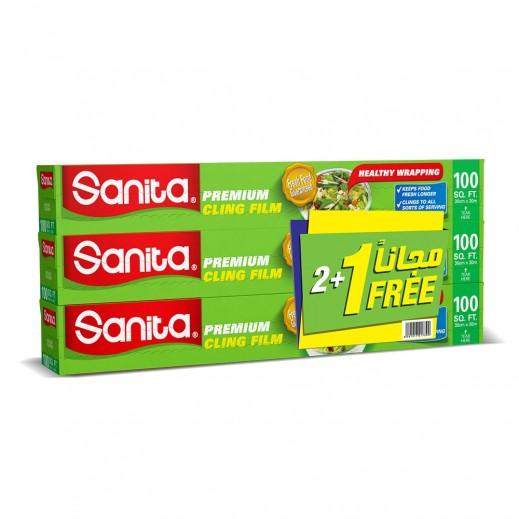 سانيتا – نيلون شفاف لتغليف الأطعمة - 100 قدم (2 + 1 مجاناً)
